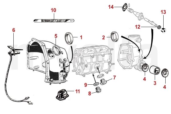 [QMVU_8575]  Alfa Romeo EXTERNAL PARTS - 101 - GEARBOX - DRIVETRAIN - ALFA GIULIETTA/GIULIA  750/101 - PARTS   Alfa Romeo Transmission Diagrams      www.myalfa.dk