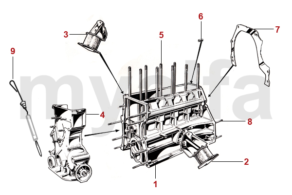 Alfa Romeo ENGINE BLOCK/MOUNTS - ENGINE BLOCK - MOTOR - ALFA ROMEO SPIDER  (105/115) - PARTSwww.myalfa.dk