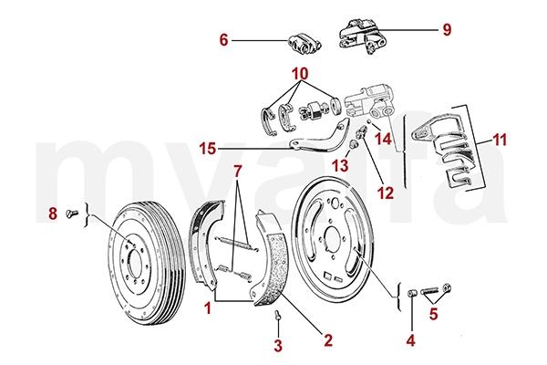 alfa romeo narrow drum - brakes rear - brakes - alfa giulietta/giulia  750/101 - parts  www.myalfa.dk