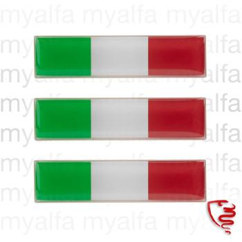 Flag Italien 3D klistermærke 47x12mm rechtkantet 3 stk